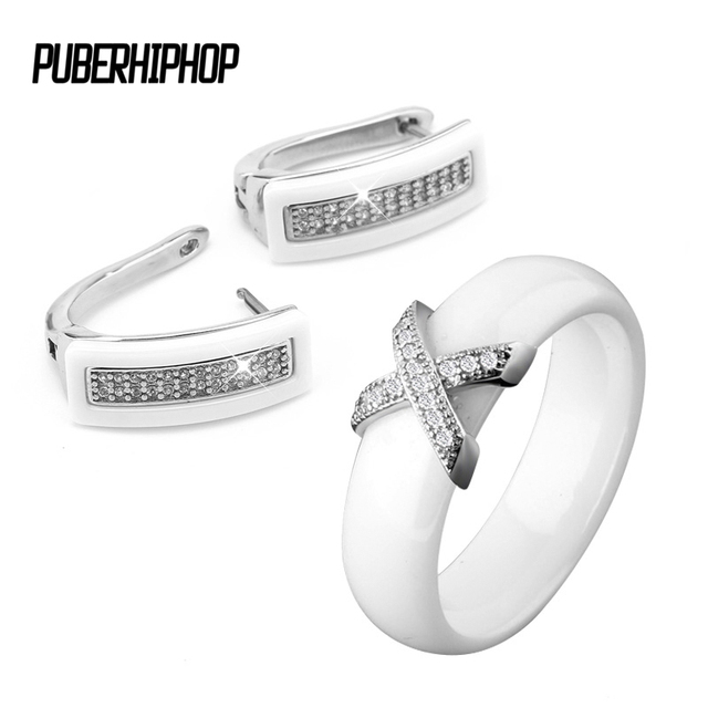 Big Discount Black White Stainless Steel Jewelry Set Ceramic For Women AAA Bling