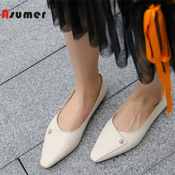 ASUMER 2019 new fashion  shoes woman square toe shallow square heel single shoes classic pearl shoes casual flats women