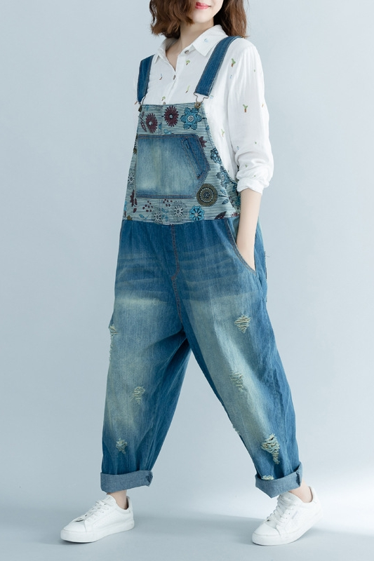 Spring Autumn Women Overalls Loose Printing Trousers Holes Pants Sweet Girls Floral Casual Female Washed Jeans