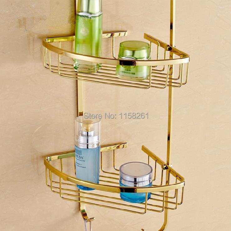 Bathroom Shelves 3 Tier Metal Gold Shower Wall Shelf Corner Basket ...