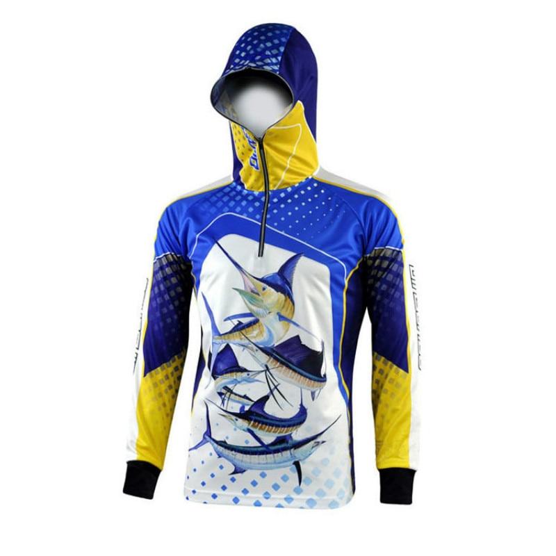 2018 Fishing Clothing Man Breathable Sunscreen Uv Protection Shirt Quick Drying Long Sleeve Hooded Fishing Shirts Jacket Camisas