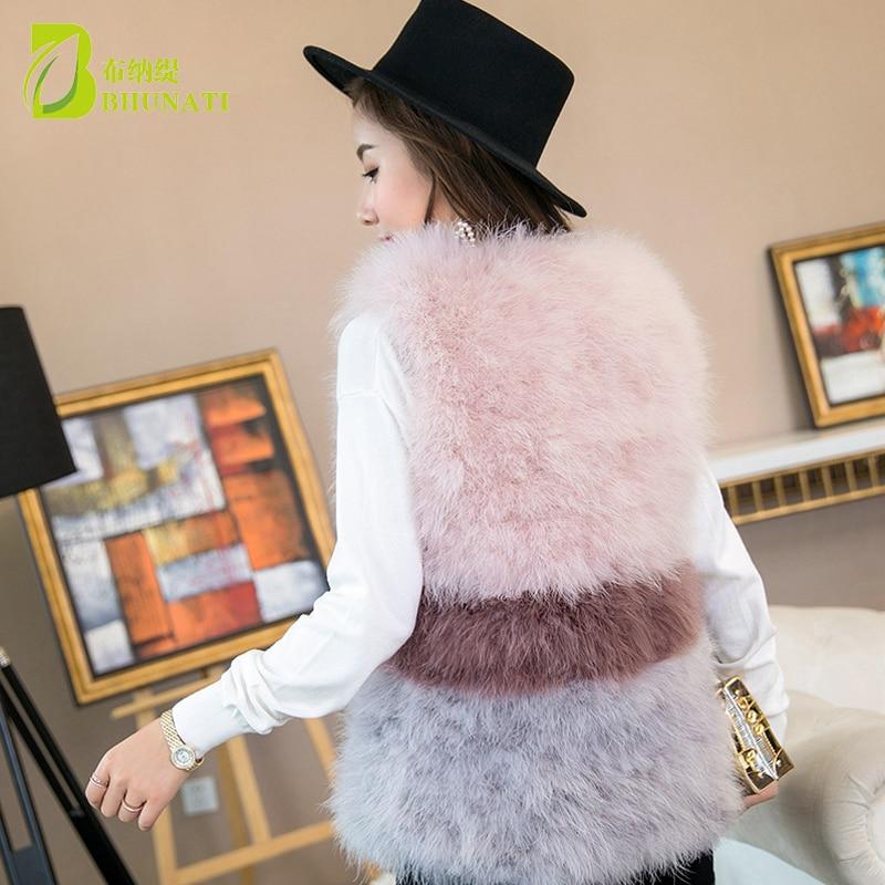 Mode vraie laine d'autruche turquie fourrure femmes gilet manteau plume Patchwork naturel fourrure gilet veste - 3