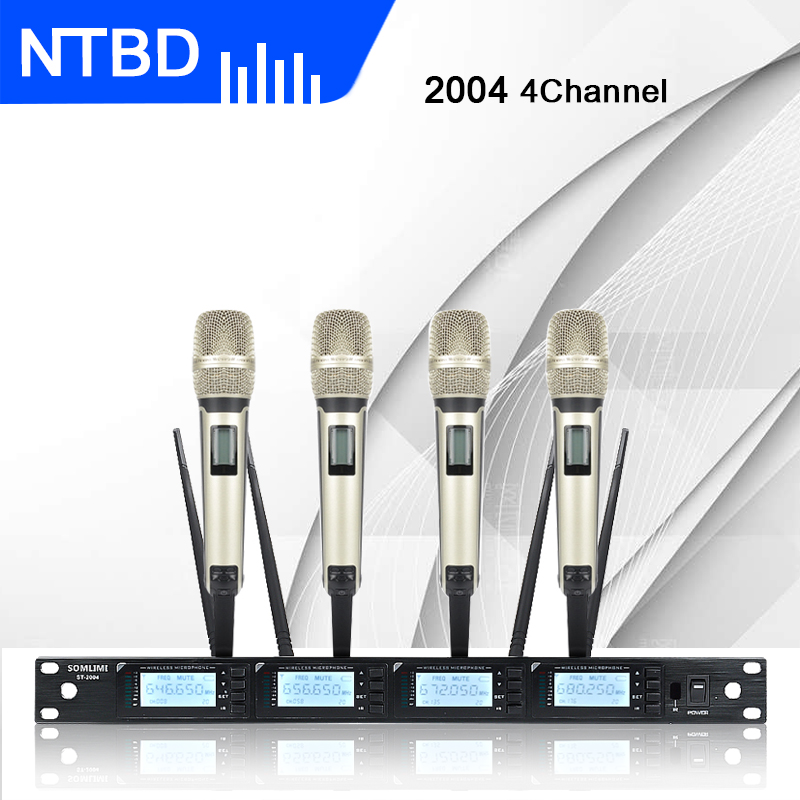 NTBD Karaoke Stage Performance Wedding Home KTV Party ST2004 Professional 4 Channel Wireless Microphone System