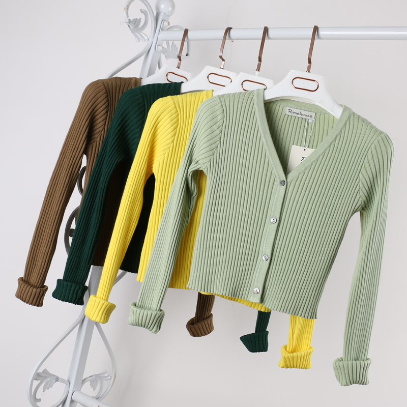 12 Colors Autumn Short Knitted Cardigan Jacket Women Female Coat Button Up Slim All Matched Little Cardigan Sweater Knitwear