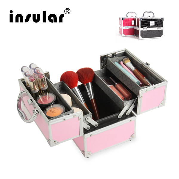 New Women Professional Aluminum Makeup Case Portable Travel Jewelry Train Cases Cosmetic Organizer Case Box Makeup Cosmetic Bags