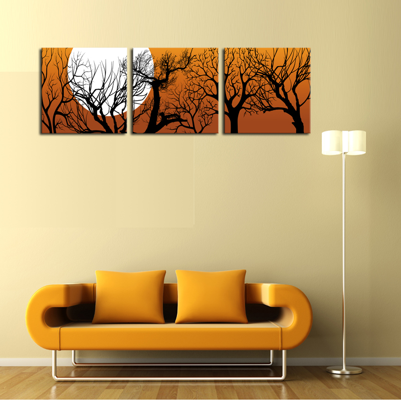 ₪Oil Painting Fallout Unframed 3 Sets Canvas Painting Moon And Trees ...