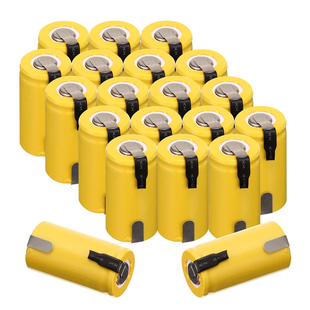 Anmas Power 20 PCS 1 2V 1300mAh Sub C SC Ni Cd NiCd Rechargeable Battery Yellow