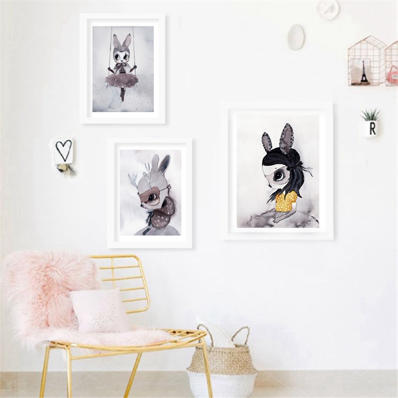 Poster Prints Nordic Decoration Nursery Girl Wall A