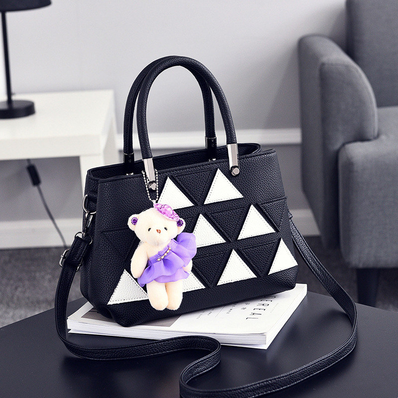 Фотография Elegant Casual PU Women Shoulder Bag Fashion Black Office Lady Handbag Triangle Leather Decoration Crossbody
