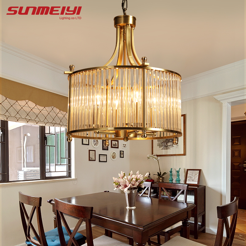 Modern Copper Chandelier Wrought LED Chandeliers Lighting Fixtures LED Hanging Lamp With Glass Shade For Living