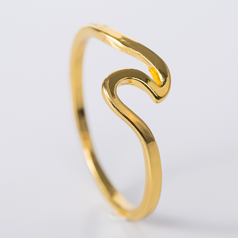 Mossovy Wave Alloy Silver Rings Charms Rose Gold Ring