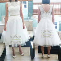 Tea-Length Wedding Dress Illusion Lace Appliques Bride Gowns V-Backless Button Back Tulle Wedding Dresses