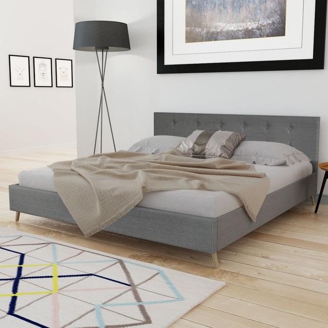 IKayaa diseño moderno Cama de cuero artificial de madera cama ...