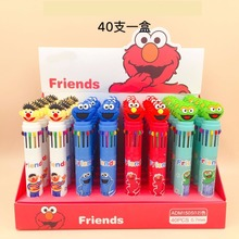 40pcs/pack 12 Colors Multicolor Ballpoint Pen Press Ball Cartoon Sesame Street Children Stationery Gift Prize
