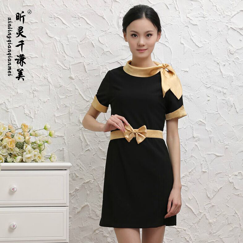 Work Clothes Thousand Hotel Uniform Beauty Summer Dress Beautician Cashier Short Sleeved Dress Uniform Female J312