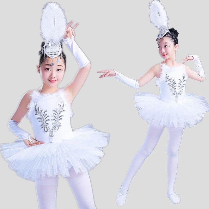b7ddf31b9327 Free Shipping 130-175cm Girls White Swan Lake Costumes Camisole ...