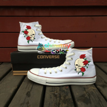 Skull Red Rose Original Design Converse Chuck Taylor White Women Men Shoes High Top Hand Painted Shoes Man Woman Sneakers