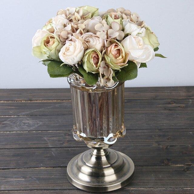 Artificial Silk Rose Hydrangea Bouquet Wedding Bride Holding Bouquet Home  Party Decorative Artificial Flower