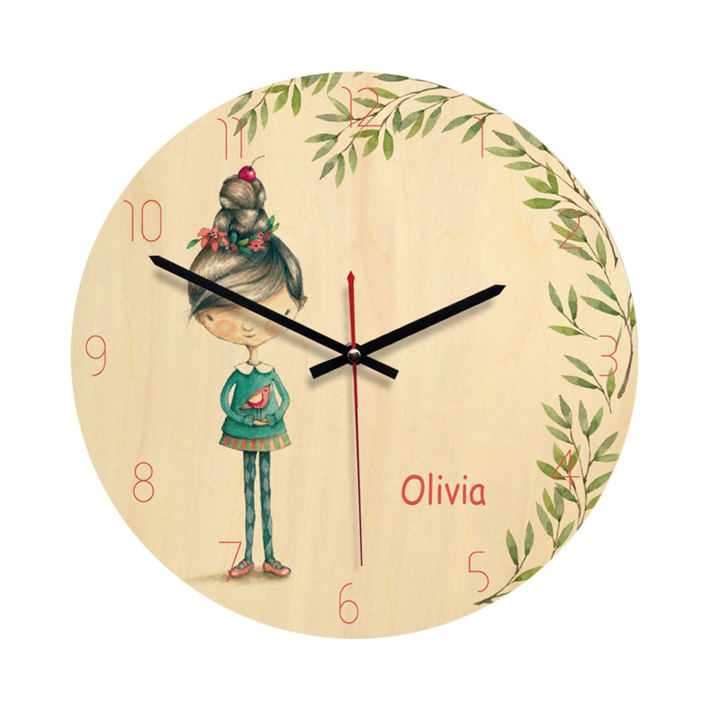 Wooden Circle Clock Wall Clock Round Durable Decorative Fairy Tale Style Modern Design Silent Clock For Living Room Home Bedroom