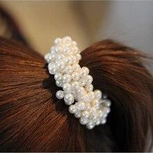 3 colors Pearl Hair Clip hair rope Women Girls Elastic Hair