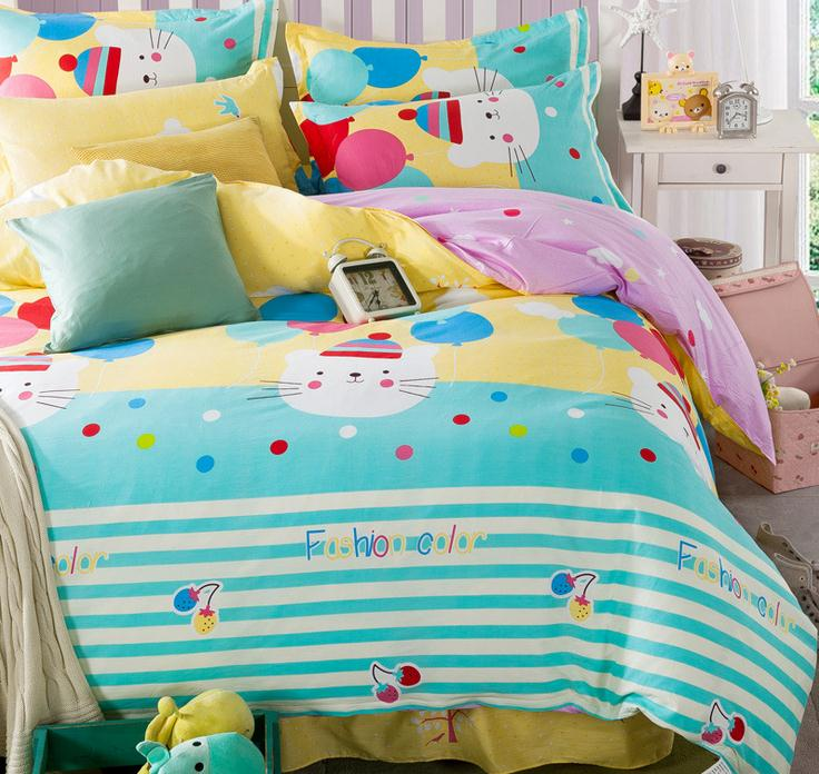4 pcs cartoon cat kids children bedding set twin full