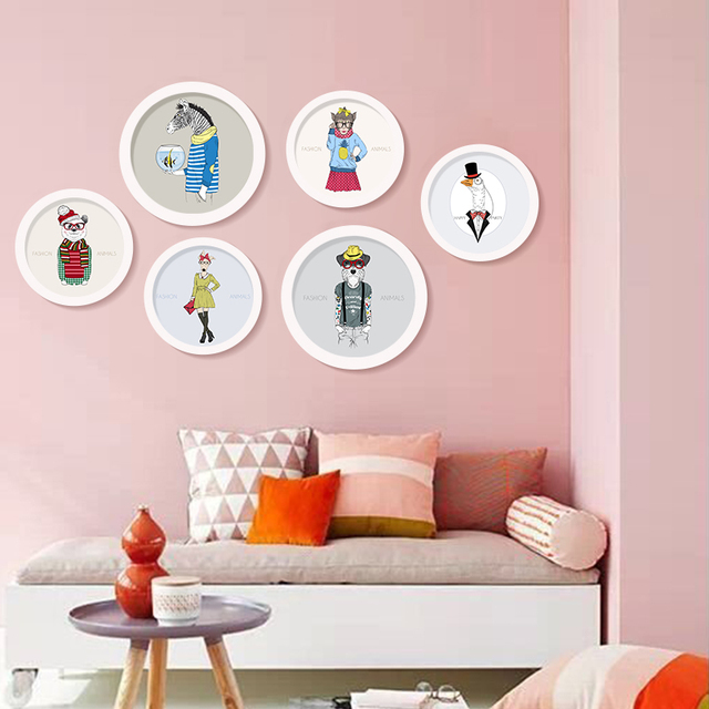 Round Photo Frame cartoon Silhouette of Deer Family with Pine Forest ...