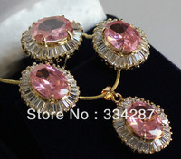 5 colour !10X14MM CZ Pink/Yellow/Brown/Blue/White Jades Stud earring Peadant Ring Jewelry Set