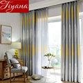 Серая Современная желтая занавеска с листьями  льняная занавеска для спальни  прозрачная занавеска для гостиной  плотные занавески  занаве...