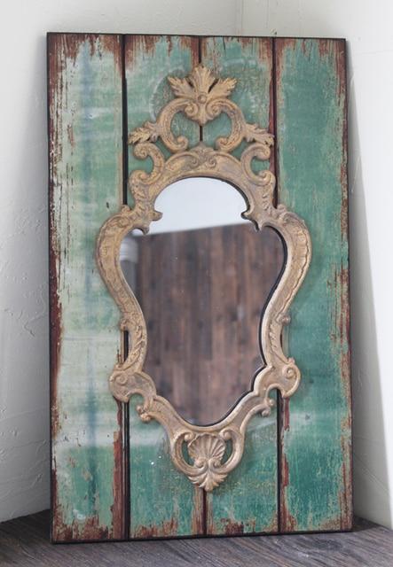 Loft American Continental French Vintage Wooden Wall Mirror Vanity Bathroom Decorative Room Frame