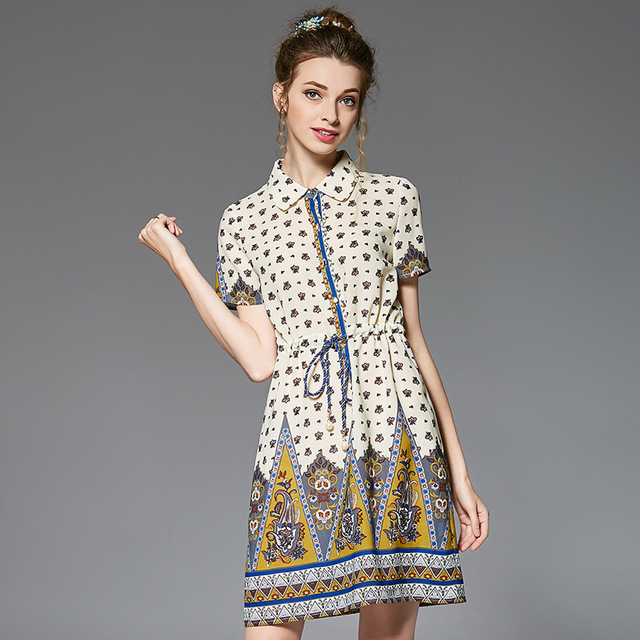 Vestidos OUYALIN L-4XL 5XL 2017 Women Plus Size Summer Dress Boho Printed  Drawstring Waist Collared Front Button Chiffon Dresses 0ac5a9ad2b87