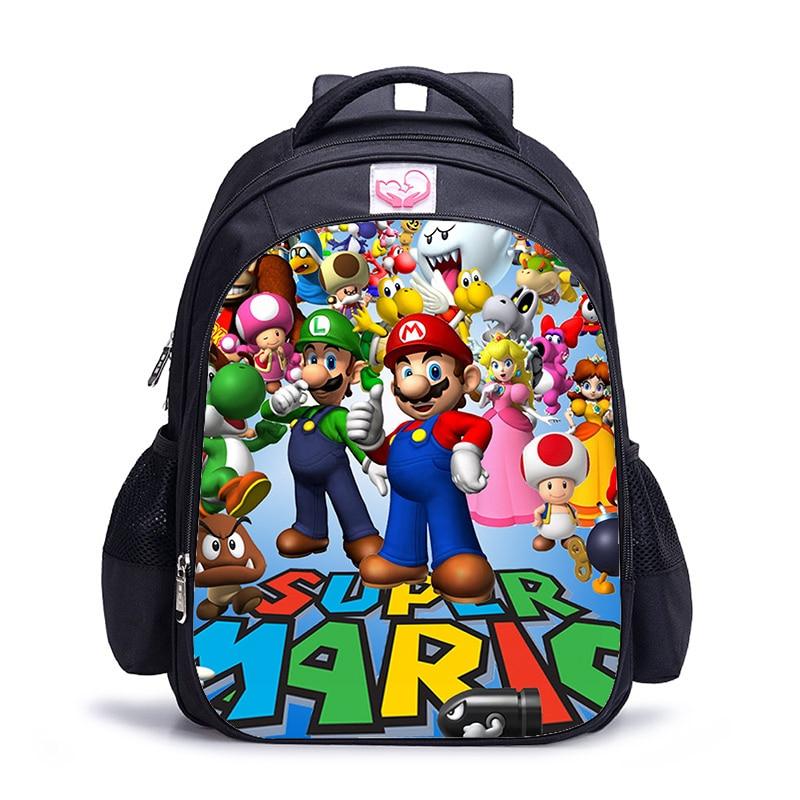 New 12 Inch Cartoon Mario Printing Girls Boys School Backpack Kids Gift Book Bag