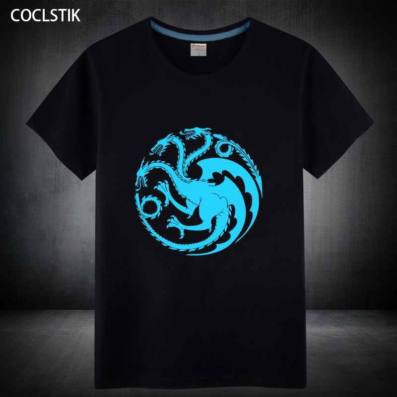 100% Cotton Mens Fluorescent Game of Thrones T Shirt Male Family Logo Tops House Sigils Casual Short Sleeve Tee Shirts S-5XL