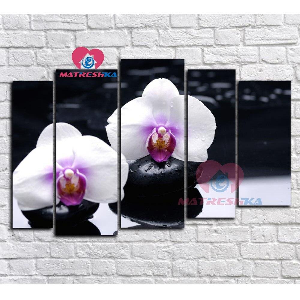 Diamant broderie orchidées peinture triptyque diamant mosaïque motifs diamant fleurs photos broderie-cristaux kit de bricolage mosaïque