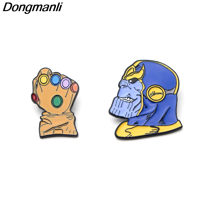 P2545 Dongmanli 20pcs lot wholesale Thanos Infinity Gauntlet Metal Enamel pin badges Brooches movie jewelry Accessories