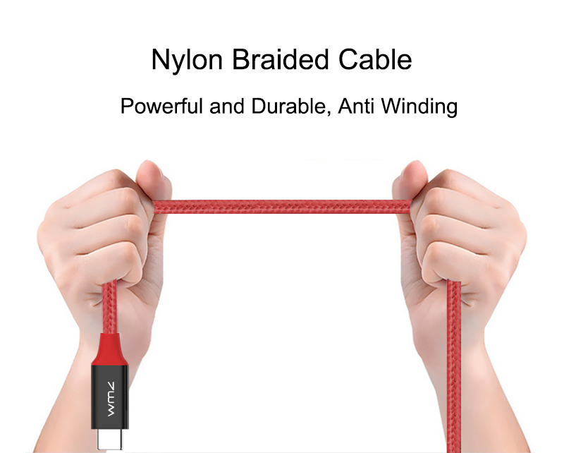 USB Type-C 3.0 Red Braided Cable 8