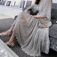 New Summer Dress Vintage Floral Women's Dress Large Size Sling Chiffon Dress Loose Big Size Lace Puff Sleeve Female Dress 645