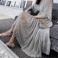 New Summer Dress Vintage Floral Women's Dress Large Size Sling Chiffon Dress Loose Big Size Lace Puff Sleeve Female Dress 645