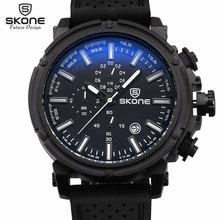 SKONE de Marca 6 Manos 24 Horas Función de Silicona Relojes Deportivos Hombres Fecha Cronógrafo de Cuarzo reloj Casual Horas Relogio masculino