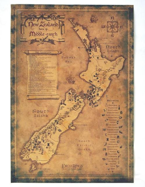 free ship vintage new zealand map retro movie poster wall art crafts sticker paint living room. Black Bedroom Furniture Sets. Home Design Ideas