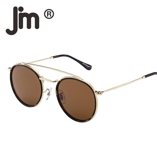 d9e1d2b8bf JM ronda de gafas de sol polarizadas marco de Metal espejo plana círculo  lente hombres mujeres