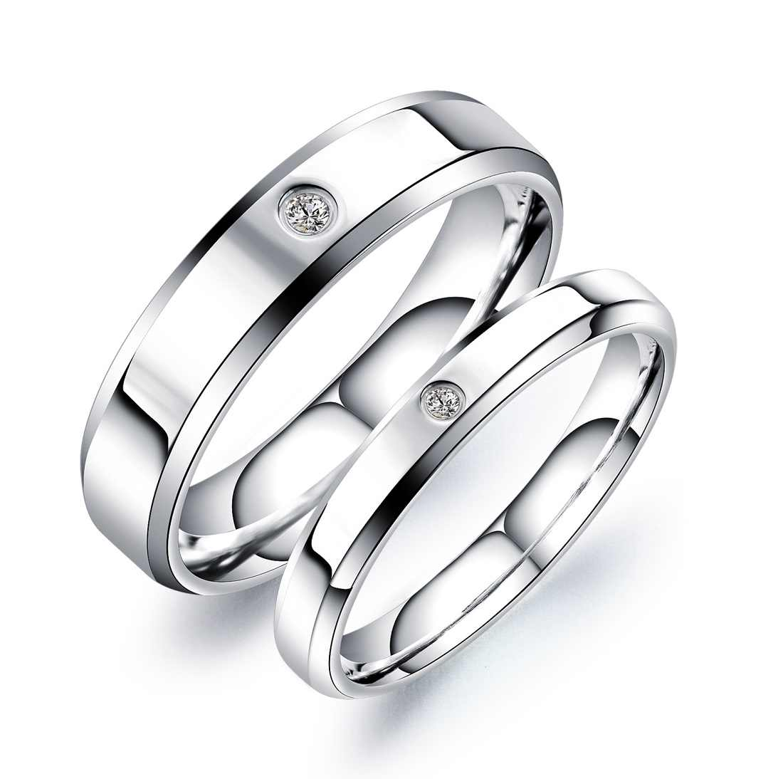 JHSL 3/5mm Stainless Steel Lovers Couple's Men Women Wedding Small Rings Valentine's Day Gift size 4 5 6 7 8 9 10 11