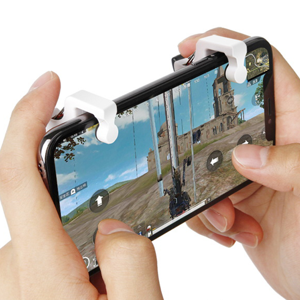 2Pcs PUBG Phone Mobile Trigger Fire Button Handle Shooter Controller Mobile Game Fire Button Aim Key for iPhone Android Phone(China)