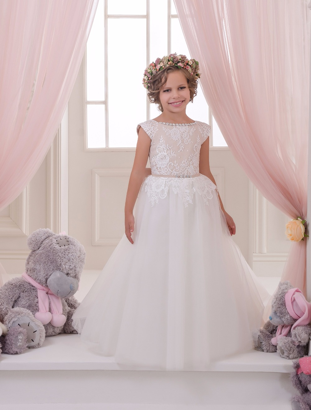 Lace Appliques Cap Sleeves Holy Communion Infant Girls Dresses Kids Beading Tulle Ball Gowns with Beading Belt  0-12 Year Old new arrival flower girls dresses high quality lace appliques beading short sleeve ball gowns custom holy first communion gowns