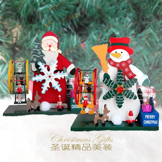 newest christmas decorations wooden music box santa snowman crafts decoration green paint craft handmade luxury gifts