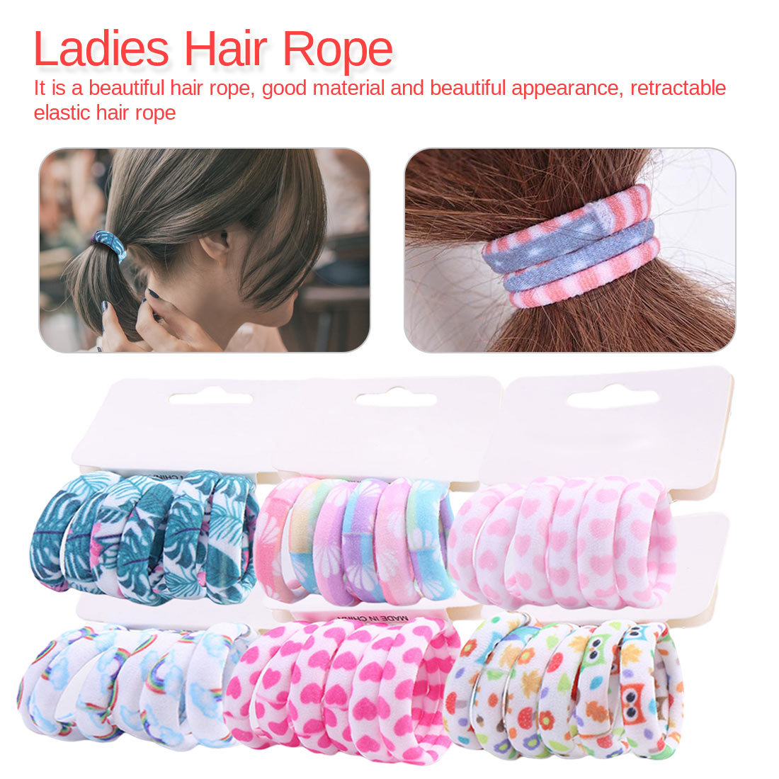 Fashion 6PCS/Lot Girls Cute Color Hair Band Pink Print Dot Lovely Elastic Headband Good Quality Hair Holder Tie Gum