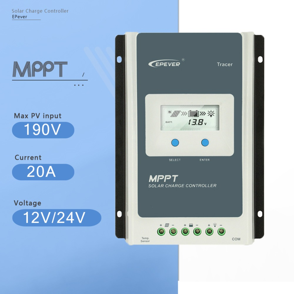 Tracer2210AN MPPT 20A Solar Charge Controller 12V/24V Auto Solar Panel Battery Charge System Regulator With Big LCD Display solar regulator 20a mppt tracer2210an with wifi and usb for 12v 24v auto work