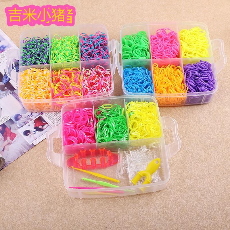 21b3e14629a3 5100 piezas 13 colores de goma telar bandas juguetes para niños niña regalo  banda elástica para ...