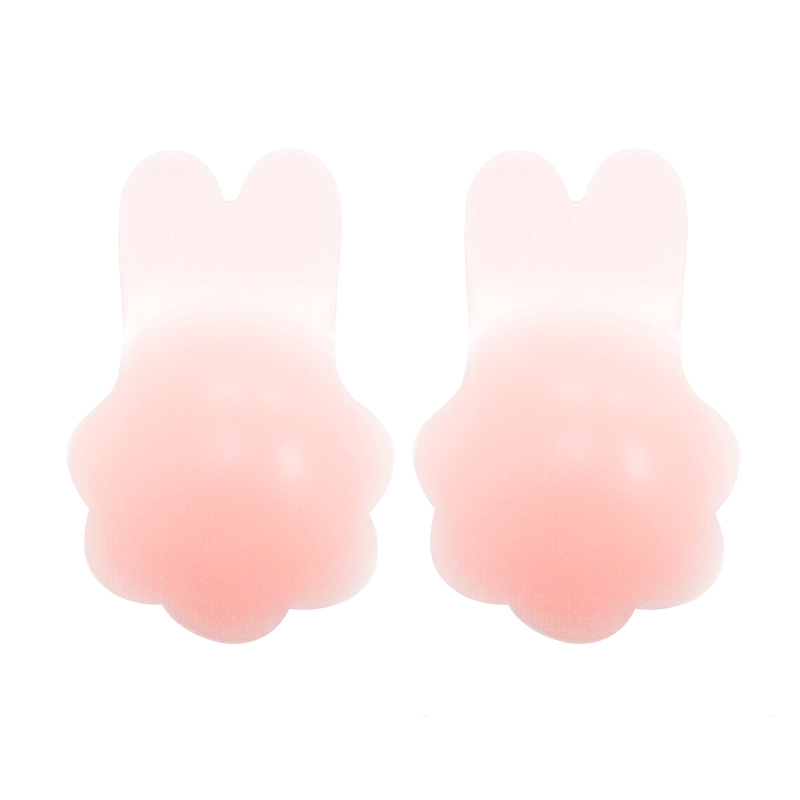 Hot Sale Sexy Strapless Self Adhesive Bra Invisible Lingerie Push Up Nipple Cover Stickers Front Silicone Rabbit Bra