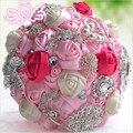 Nueva Llegada Gorgeous Flores Ramos de Novia de Color Rosa Artificial Ramo de La Boda de Cristal Con Perlas 2017 buque de noiva