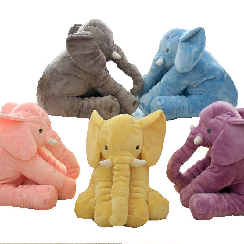 40CM 60CM 5 Colors Long Nose Plush Elephant Toy Lumbar Elephant Pillow Baby Appress Doll Bed Cushion Kids Toy Gift